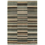 Jacob striped washed hand loom wool rug - Extra Large 200cm x 300xm