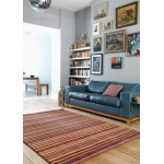 Joseph striped washed hand loom wool rug - Medium 90cm x 150cm